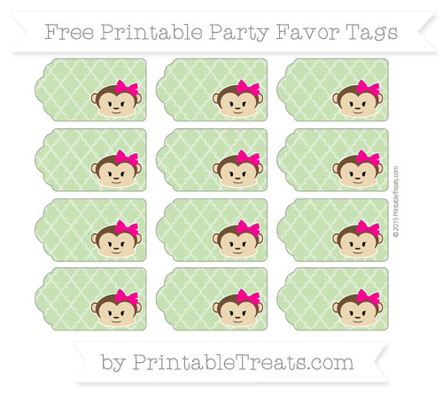 Free Pistachio Green Moroccan Tile Girl Monkey Party Favor Tags