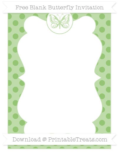 Free Pistachio Green Polka Dot Blank Butterfly Invitation
