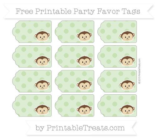 Free Pistachio Green Polka Dot Boy Monkey Party Favor Tags