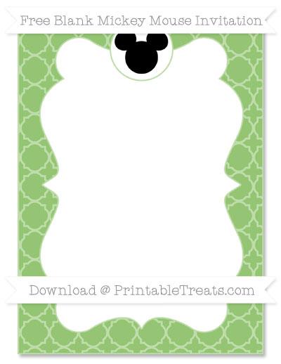 Free Pistachio Green Quatrefoil Pattern Blank Mickey Mouse Invitation