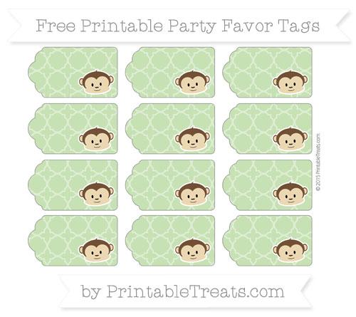 Free Pistachio Green Quatrefoil Pattern Boy Monkey Party Favor Tags