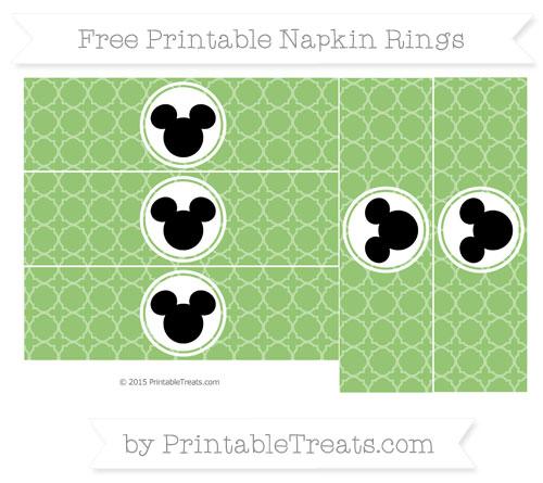 Free Pistachio Green Quatrefoil Pattern Mickey Mouse Napkin Rings
