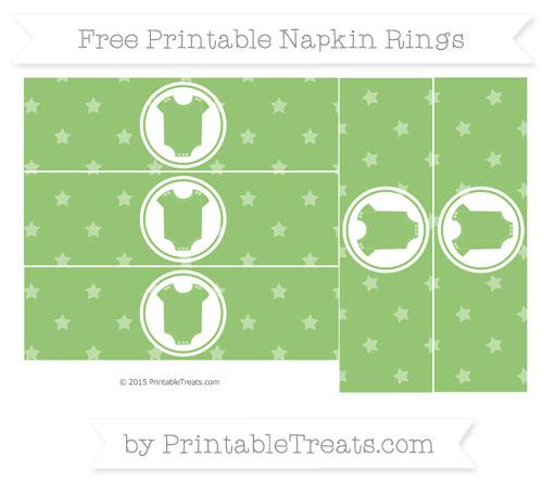 Free Pistachio Green Star Pattern Baby Onesie Napkin Rings