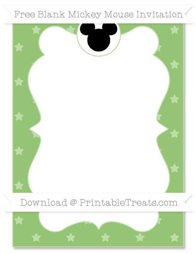 Free Pistachio Green Star Pattern Blank Mickey Mouse Invitation