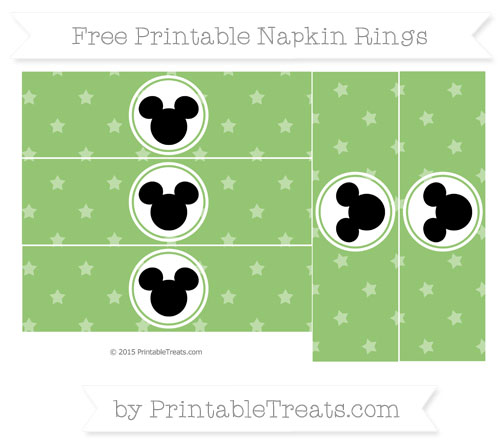 Free Pistachio Green Star Pattern Mickey Mouse Napkin Rings