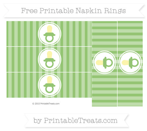 Free Pistachio Green Striped Baby Pacifier Napkin Rings