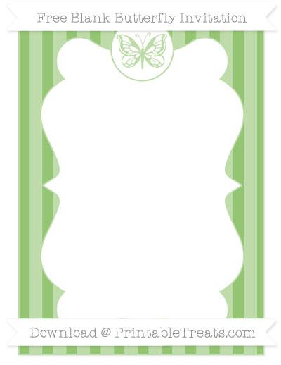 Free Pistachio Green Striped Blank Butterfly Invitation