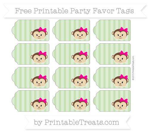 Free Pistachio Green Striped Girl Monkey Party Favor Tags