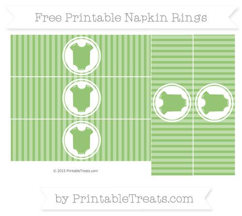 Free Pistachio Green Thin Striped Pattern Baby Onesie Napkin Rings