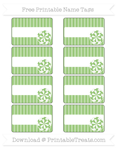 Free Pistachio Green Thin Striped Pattern Cheer Pom Pom Tags