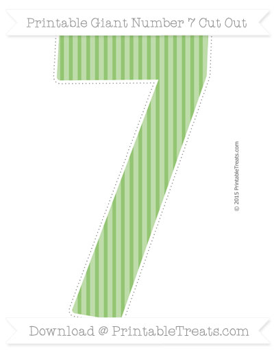 Free Pistachio Green Thin Striped Pattern Giant Number 7 Cut Out