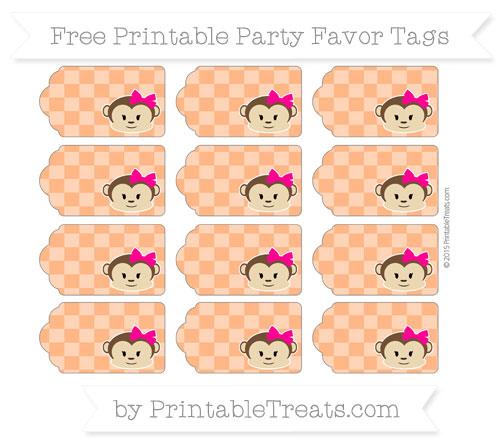 Free Pumpkin Orange Checker Pattern Girl Monkey Party Favor Tags