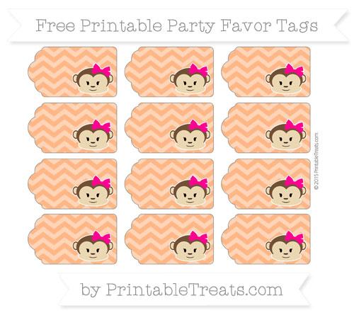 Free Pumpkin Orange Chevron Girl Monkey Party Favor Tags