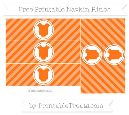 Free Pumpkin Orange Diagonal Striped Baby Onesie Napkin Rings