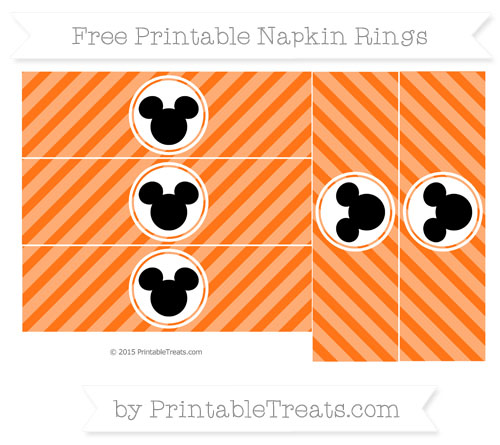 Free Pumpkin Orange Diagonal Striped Mickey Mouse Napkin Rings