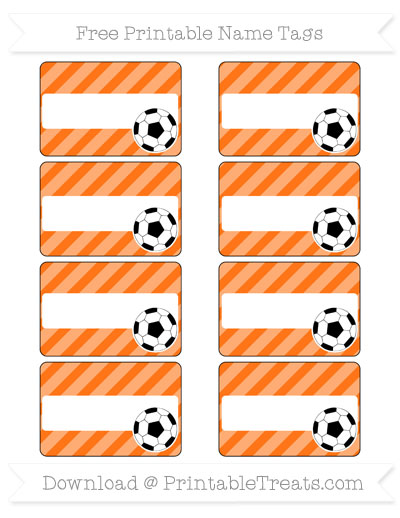 Free Pumpkin Orange Diagonal Striped Soccer Name Tags