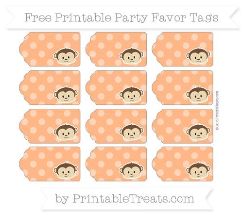 Free Pumpkin Orange Dotted Pattern Boy Monkey Party Favor Tags