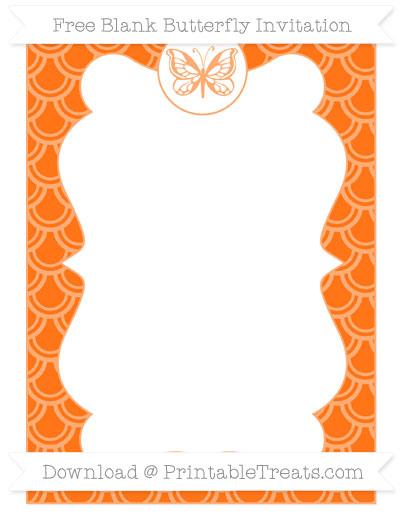 Free Pumpkin Orange Fish Scale Pattern Blank Butterfly Invitation
