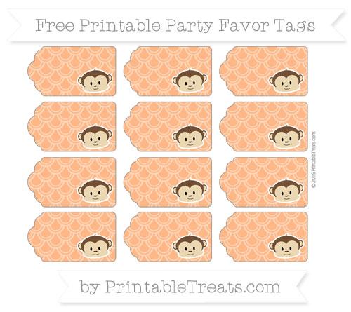 Free Pumpkin Orange Fish Scale Pattern Boy Monkey Party Favor Tags