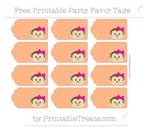 Free Pumpkin Orange Girl Monkey Party Favor Tags