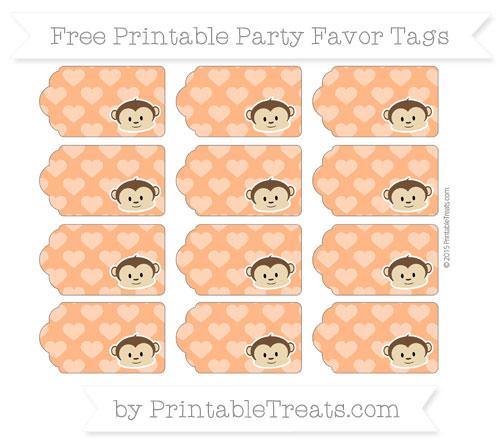 Free Pumpkin Orange Heart Pattern Boy Monkey Party Favor Tags