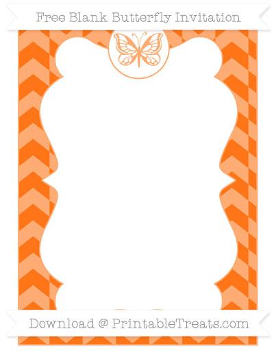 Free Pumpkin Orange Herringbone Pattern Blank Butterfly Invitation