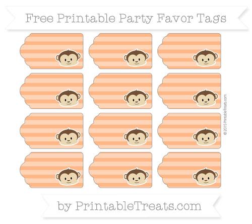 Free Pumpkin Orange Horizontal Striped Boy Monkey Party Favor Tags