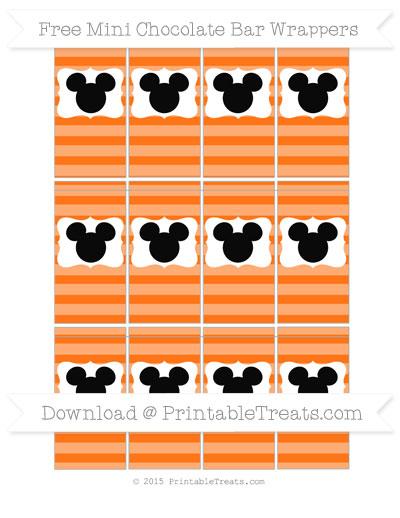 Free Pumpkin Orange Horizontal Striped Mickey Mouse Mini Chocolate Bar Wrappers