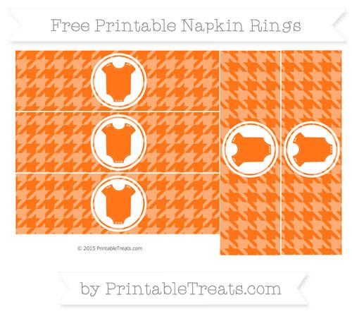 Free Pumpkin Orange Houndstooth Pattern Baby Onesie Napkin Rings