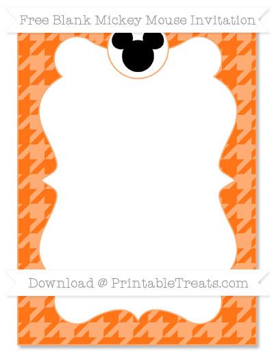 Free Pumpkin Orange Houndstooth Pattern Blank Mickey Mouse Invitation
