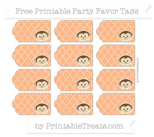 Free Pumpkin Orange Moroccan Tile Boy Monkey Party Favor Tags