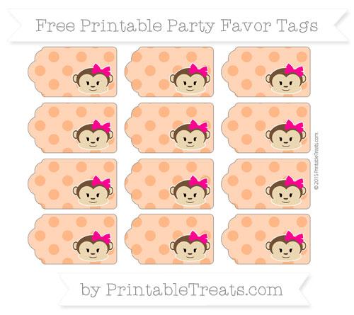 Free Pumpkin Orange Polka Dot Girl Monkey Party Favor Tags