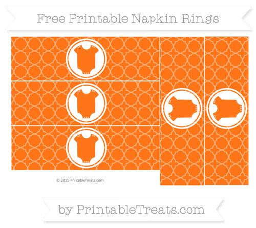Free Pumpkin Orange Quatrefoil Pattern Baby Onesie Napkin Rings