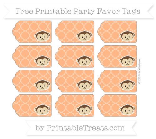 Free Pumpkin Orange Quatrefoil Pattern Boy Monkey Party Favor Tags