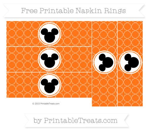 Free Pumpkin Orange Quatrefoil Pattern Mickey Mouse Napkin Rings