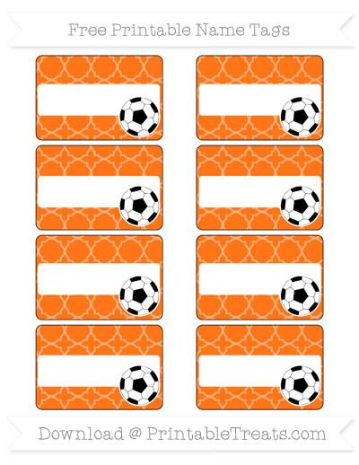 Free Pumpkin Orange Quatrefoil Pattern Soccer Name Tags