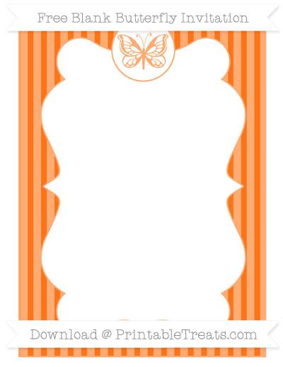 Free Pumpkin Orange Thin Striped Pattern Blank Butterfly Invitation