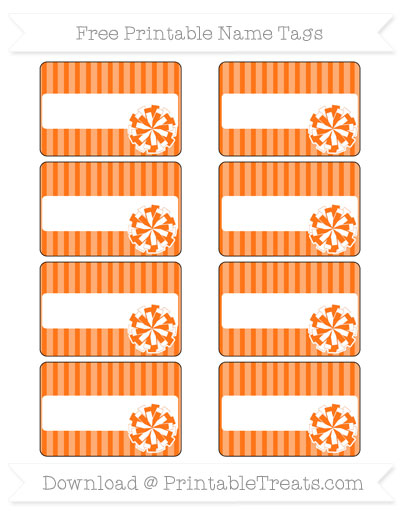 Free Pumpkin Orange Thin Striped Pattern Cheer Pom Pom Tags