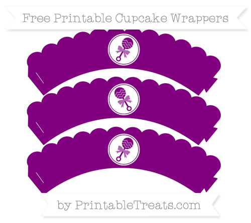 Free Purple Baby Rattle Scalloped Cupcake Wrappers