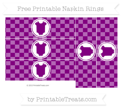 Free Purple Checker Pattern Baby Onesie Napkin Rings