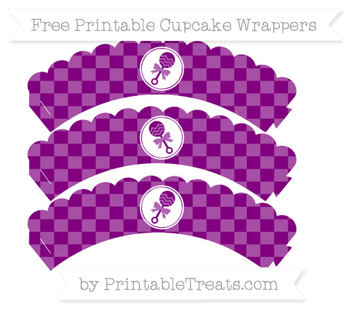 Free Purple Checker Pattern Baby Rattle Scalloped Cupcake Wrappers