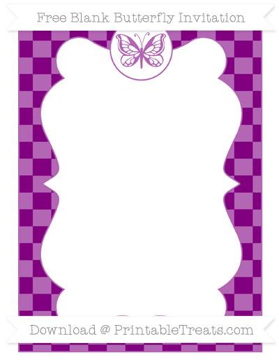 Free Purple Checker Pattern Blank Butterfly Invitation