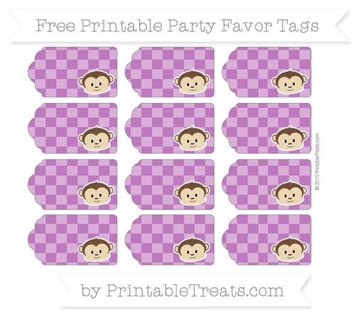 Free Purple Checker Pattern Boy Monkey Party Favor Tags