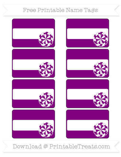Free Purple Cheer Pom Pom Tags