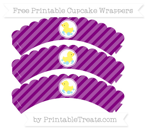 Free Purple Diagonal Striped Baby Duck Scalloped Cupcake Wrappers