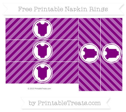Free Purple Diagonal Striped Baby Onesie Napkin Rings