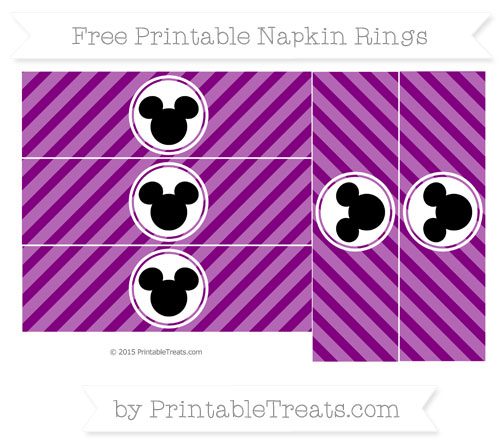Free Purple Diagonal Striped Mickey Mouse Napkin Rings