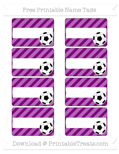 Free Purple Diagonal Striped Soccer Name Tags