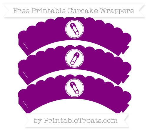 Free Purple Diaper Pin Scalloped Cupcake Wrappers