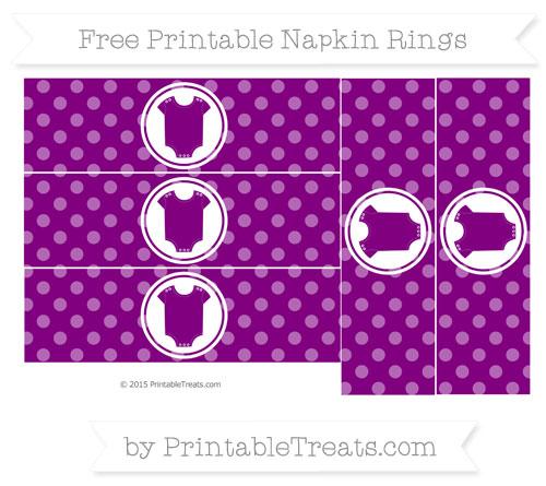 Free Purple Dotted Pattern Baby Onesie Napkin Rings